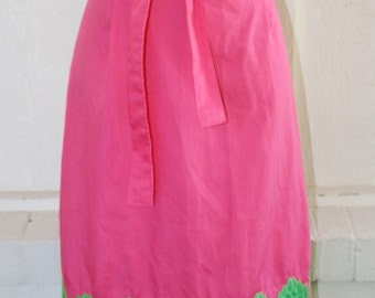 1970s Wrap Skirt - Pink and Green Asparagus Themed Wrap Skirt - by The Silent Women - Kitchy Kitch Fun Quirky - Nutritional Veggies
