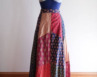 AMAZING 1970s patchwork hippie festival boho cotton calico maxi wrap skirt by The Limted Made in India OS Small / Medium
