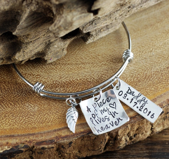 A Piece of my Heart is in Heaven, Personalized Charm Bracelet, Memorial Bangle Bracelet, Remembrance Bangle Bracelet, Loss of Child