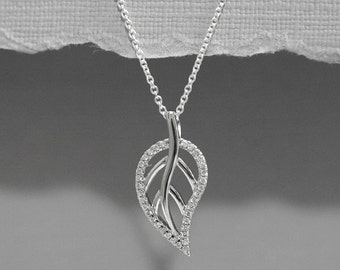 Sterling Silver Leaf Necklace, Sterling Silver ans CZ Leaf Necklace, Sterling Silver and CZ Leaf Necklace, Everyday Necklace, Gift for Her