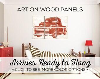 Vintage Pickup Truck - Kids Playroom - Truck Birthday - Truck Wall Art - Truck Nursery Print - Pickup Wall Art - Red Truck Wall Art