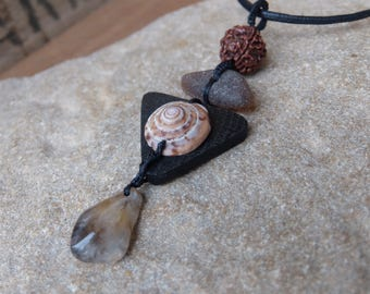 Tribal jewelry - Rutilated Quartz, shell, bog oak, beach glass & seed pendant necklace. Black brown jewellery handmade in Australia