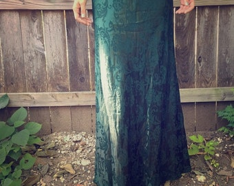 Vintage Hunter Green FLORAL Dress / Dark Green Sleeveless Evening Gown / Womens Small