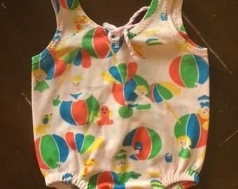 Vintage 50s Baby Girls BEACH Swimsuit / 1950s CARTERS Onesie Bathing Suit / 6-12 Months