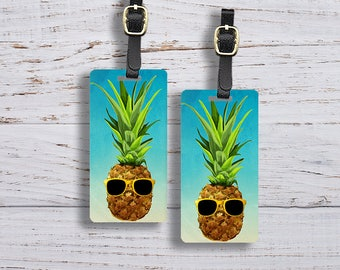Luggage Tag Set Watercolor Pineapple with Sunglasses Funny Metal Luggage Tag Set With Printed Custom Info On Back, 2 Tags Choice of Straps