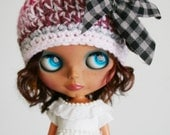 OOAK Nothing Wasted -  Crochet Beanie Hat for Blythe - Multi Color Pinks and Gray with Fabric Bow Grunge