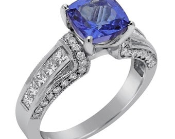 7 X 7 Cushion cut tanzanite and diamonds antique style engagement ring TZ100