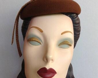 Pillbox-Cocktail Hat-Beret-Hand Blocked Brandy Felt Mini Chapeau with Faux Snakeskin Ribbon Trim