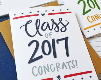 Custom School Colors Graduation card, Class of 2017, Congrats!, Congratulations, Graduate, Graduation Gift, You did it, High School, College