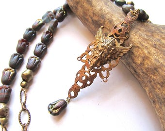 Elegant Woodland Spirit Necklace - Green Man Necklace in Rainbow Glass and Vintage Brass