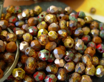 Assorted Beads, Czech Picasso Beads, 4mm Fire Polished Beads (200) #2EFP