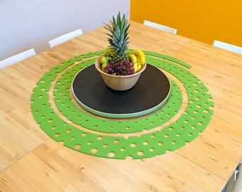 """Octopus Spiral Designer Wool Felt Table Liner - Apple Green, 48"""" Round, 5mm Thick, 100% Wool Table Decor, Circle Table Runner, Table Cloth"""