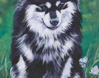 "FINNISH LAPPHUND dog portrait art canvas PRINT of LAShepard painting 12x16"""