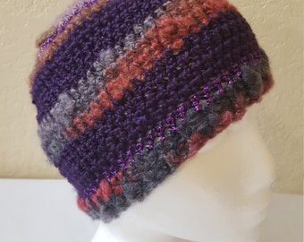Crochet Striped Beanie / Hat / Cap / Purples And Grays With Purple Shimmer/ Adult/ Womens Crochet Skull Cap/ Handmade Winter Accessories