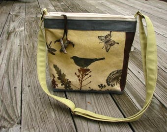 Bird Tote /Eco-friendly Tote/Ready to Ship/ Shoulder Bag/ Vegan Bag/ purse/ Zipper Closure/ 5 Large pockets/ Waxed and Cotton Canvas