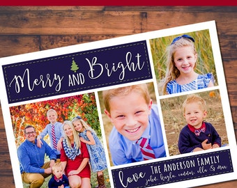 4 Photo Merry & Bright Holiday Card Digital Design (5x7)