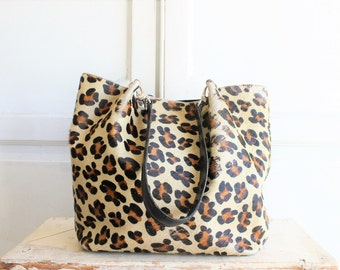 leopard print bucket bag | cowhide fur hobo | Maurizio Tatuti made in Italy