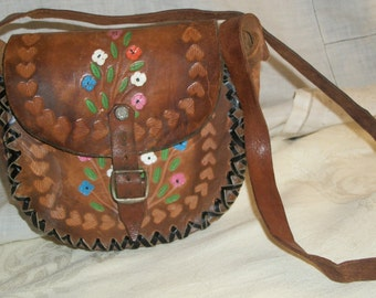 Vintage 1960s Mexican Hand Tooled Leather Small Purse Handpainted Flowers Woven Perfect for Girl
