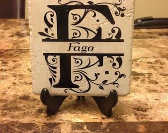 home decor/decorative tiles/6x6 tiles/ceramic tile/personalized/initial/monogrammed tile/wedding gift/family/vinyl/home living