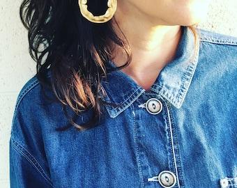 Vintage gold-tone large hoop dangle clip on  earrings