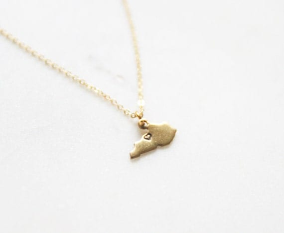 gold brass small kentucky state necklace by peachtreelane