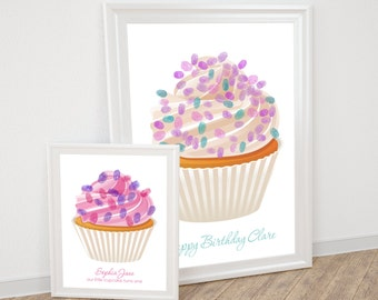 printable fingerprint guest book cupcake - customised file birthday or wedding guest book, engagement, milestone, cake, sprinkle, party game