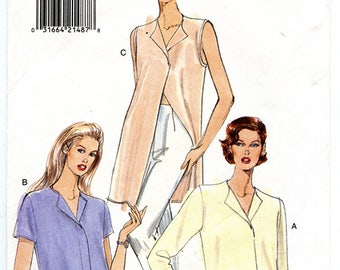 Vintage 90s Vogue 9248 Women's Pullover Shirt UNCUT Sewing Pattern Sizes 6 8 10 XS Small Bust 30 to 32