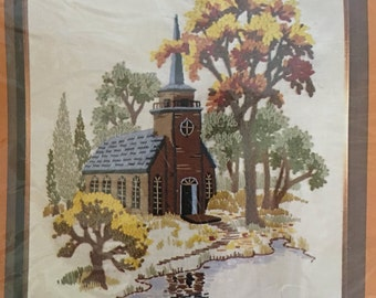 "The Creative Circle Kit No. 1005 ""Little Church By The Lake"" Vintage  1970's Needle Craft"