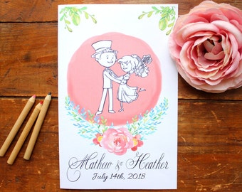 Wedding coloring book Wedding coloring pages Wedding activity book Personalized Wedding Coloring book Kids wedding favor