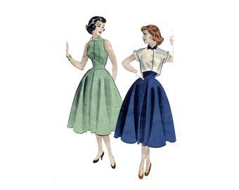 1950s Diamond Midriff Dress Pattern Cropped Jacket Cut In Bare Shoulders Bell Skirt Butterick 6883 Teen Bust 32 Vintage Sewing Pattern