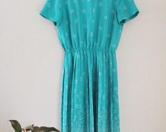 80's Teal Spring Dress