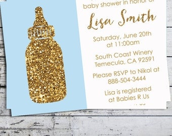 Gold Glitter Blue Baby Bottle - It's A Boy Baby Shower Invitation  - Blue Baby Bottle Professionally printed *or* DIY printable PDF