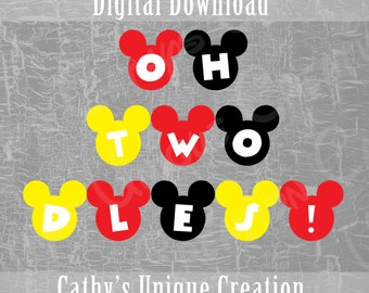 Oh Twodles Banner, 2nd Birthday, Mickey Mouse Clubhouse, Oh Toodles, Disney, Birthday Party, Ears, Printable, DIY, Sign, Letter, A4 size