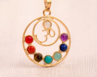 Ohm Chakra Pendant, 1pc, 30mm,Gold Tone,  Brass Metal,  Yoga Pendants -p217