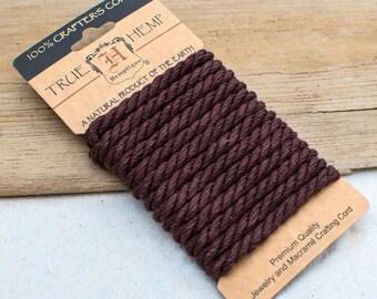 Hemp Rope 6mm, 2 Meters, Hemp Card, Twisted Rope, Brown Rope, Hemp Products -CH10