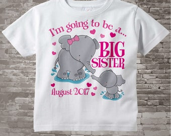 Elephant Big Sister Shirt I'm going to Be a Big Sister Elephant Tee Shirt with Date or Big Sister Onesie Pregnancy Announcement (01222014a)