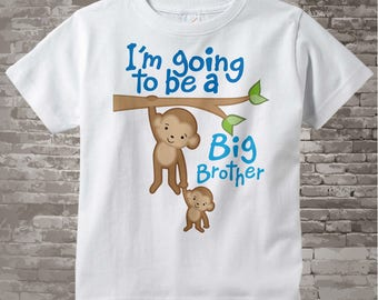 Big Brother Shirt - Jungle I'm Going to Be A Big Brother Shirt or Onesie, Personalized, Big Brother Outfit - Big Brother Monkey 10202011a