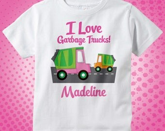 Personalized I Love Garbage Trucks Tee Shirt or Onesie for Girls | 10302012a