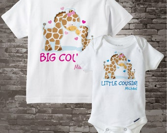 Set of Two Personalized Big Cousin and Little Cousin Giraffes Shirt, Big Girl Cousin and Little Boy Cousin Onesie (02172014d)