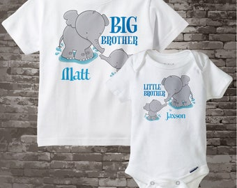 Set of Two Boys Personalized Elephant Big Brother and Little Brother Shirt or Onesie Pregnancy Announcement 07302012a