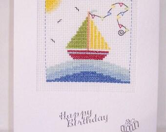 Sailing Boat Handmade  Cross Stitch Card , Yacht hand stitched card, Happy birthday card, greeting card