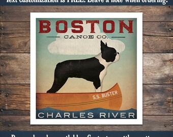 Custom BOSTON TERRIER Lake Dog Canoe Company Giclee Print Signed