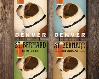 FREE CUSTOMIZATION St Bernard Brewing Company Beer Sign Gallery Wrapped Canvas Wall Art Ready-to-Hang Doodle SAINT Bernard