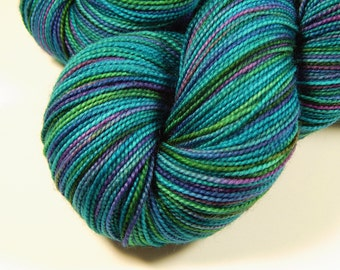 Hand Dyed Sock Yarn - Sock Weight Superwash Merino Wool Yarn - Aegean Multi - Indie Knitting Yarn, Fingering Yarn, Turquoise Blue Green