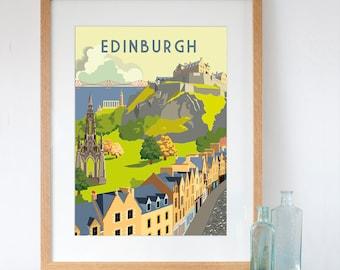 Edinburgh Art Print Retro Style