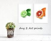 Any 2 art prints, pick your 2 prints, Watercolor prints, Art prints, kitchen art, nursery decor, wild life, botanical prints, thejoyofcolor