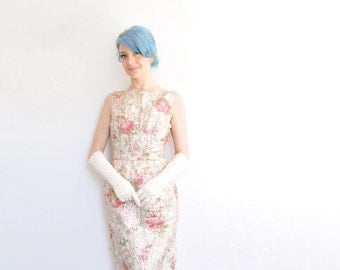 mid century metallic rose print gown . silver gold pink floral evening dress .extra small.xs