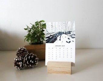 2017 Desk Calendar With Stand / mini desktop calendar, small desk calendar, travel calendar, 2017 monthly calendar, office decor, photo cal