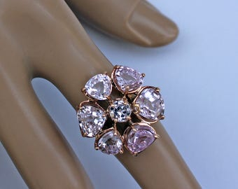 Pink Kunzite Ring, Pink Kunzite, Flower Statement Ring, Pink Stone Ring, Rose Gold,  Pink Ring, Gemstone Ring,  1800 Appraisal Included