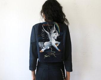 Unicorn Jacket / Velvet Painting Jacket / Black Denim Jacket Sz M